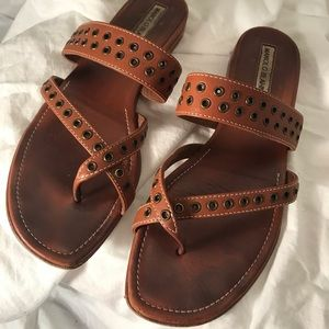 Manolo Blahnik Brown Studded Leather Sandals
